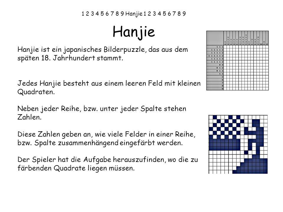 1 2 3 4 5 6 7 8 9 Hanjie 1 2 3 4 5 6 7 8 9 Hier ist ein Beispiel für ein sehr einfaches Hanjie: 1,1 1 3 121 11