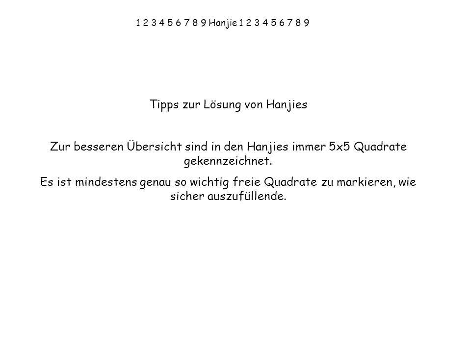 1 2 3 4 5 6 7 8 9 Hanjie 1 2 3 4 5 6 7 8 9 Tipps zur Lösung von Hanjies Zur besseren Übersicht sind in den Hanjies immer 5x5 Quadrate gekennzeichnet.