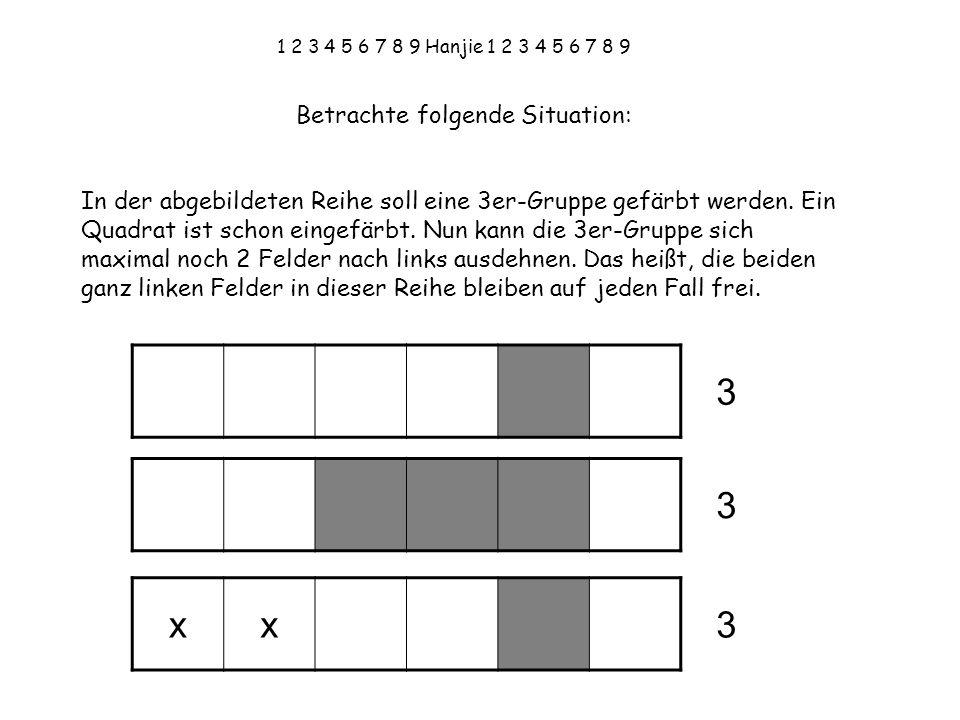 1 2 3 4 5 6 7 8 9 Hanjie 1 2 3 4 5 6 7 8 9 Betrachte folgende Situation: In der abgebildeten Reihe soll eine 3er-Gruppe gefärbt werden.