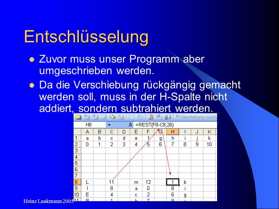 Heinz Laakmann 2005 Entschlüsselung Zuvor muss unser Programm aber umgeschrieben werden. Da die Verschiebung rückgängig gemacht werden soll, muss in d