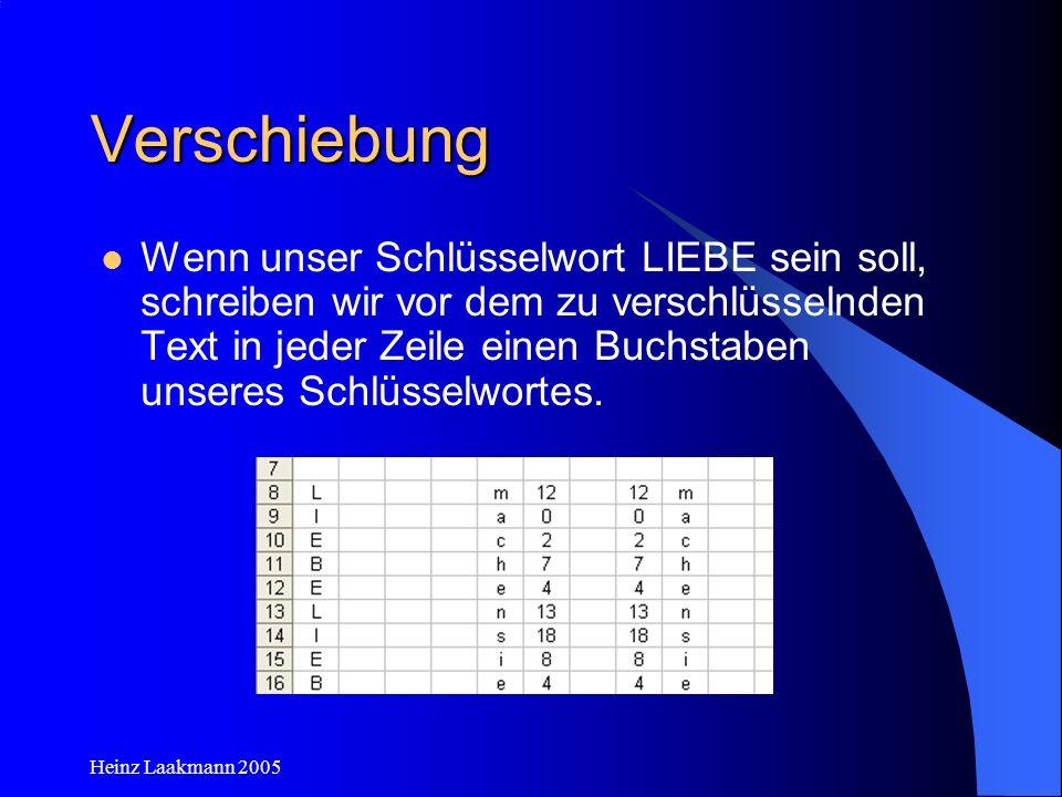 Heinz Laakmann 2005 Verschiebung Wir ordnen jedem Buchstaben des Schlüsselwortes die entsprechende Zahl zu =VERWEIS(A8;$A$1:$Z$1;$A$2:$Z$2) und ziehen nach unten