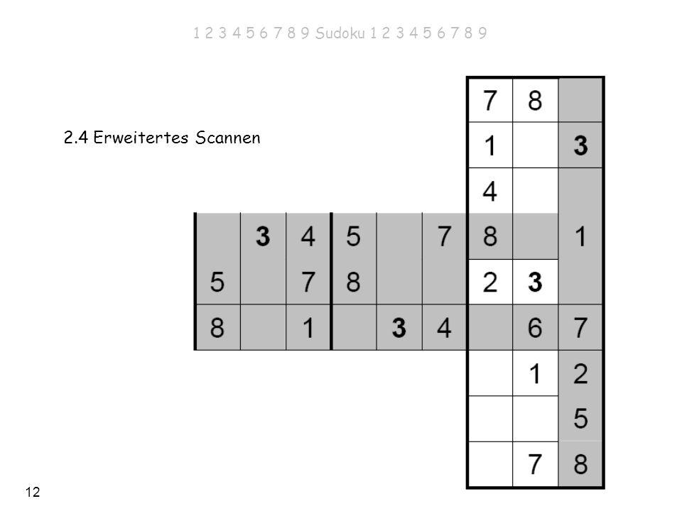 12 1 2 3 4 5 6 7 8 9 Sudoku 1 2 3 4 5 6 7 8 9 2.4 Erweitertes Scannen