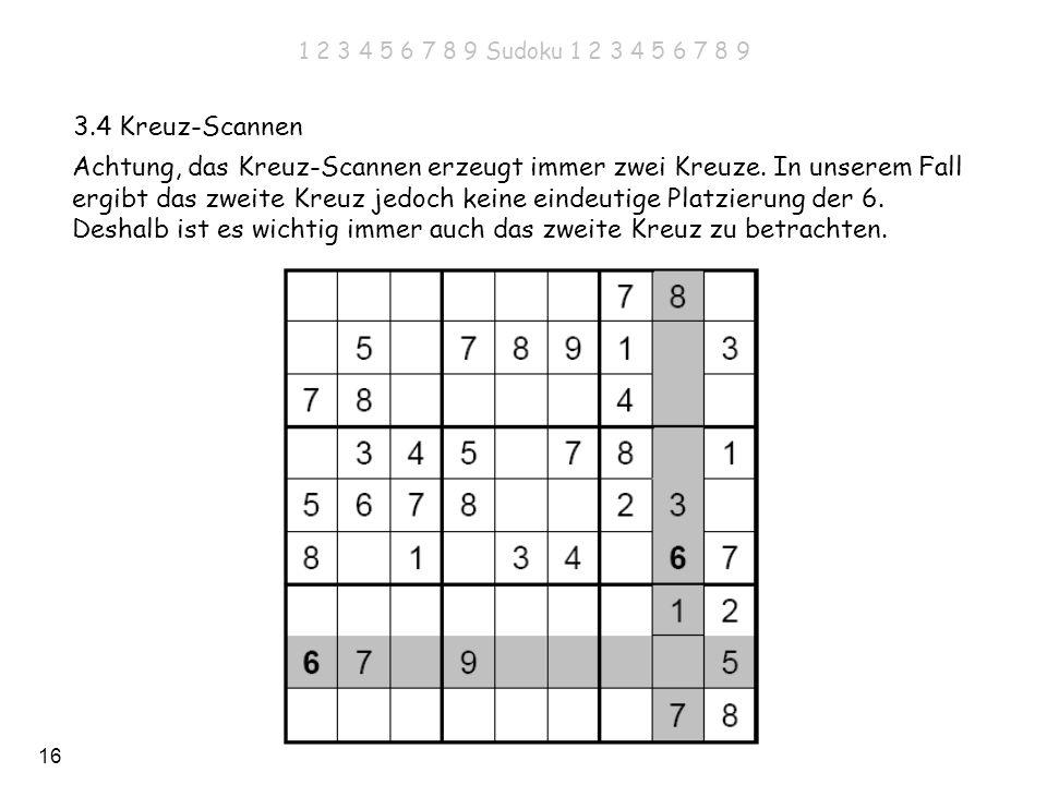 16 3.4 Kreuz-Scannen Achtung, das Kreuz-Scannen erzeugt immer zwei Kreuze. In unserem Fall ergibt das zweite Kreuz jedoch keine eindeutige Platzierung