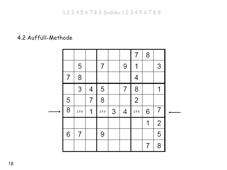 18 4.2 Auffüll-Methode 1 2 3 4 5 6 7 8 9 Sudoku 1 2 3 4 5 6 7 8 9