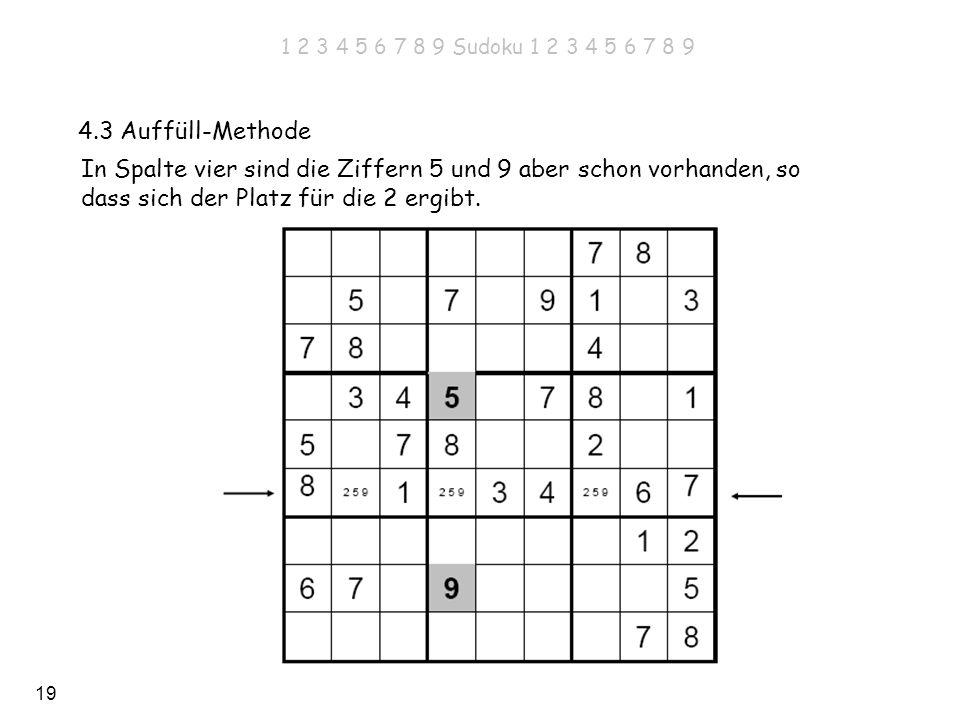 19 4.3 Auffüll-Methode In Spalte vier sind die Ziffern 5 und 9 aber schon vorhanden, so dass sich der Platz für die 2 ergibt. 1 2 3 4 5 6 7 8 9 Sudoku