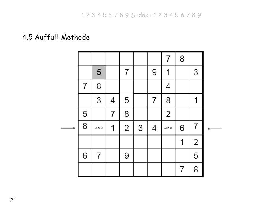21 4.5 Auffüll-Methode 1 2 3 4 5 6 7 8 9 Sudoku 1 2 3 4 5 6 7 8 9