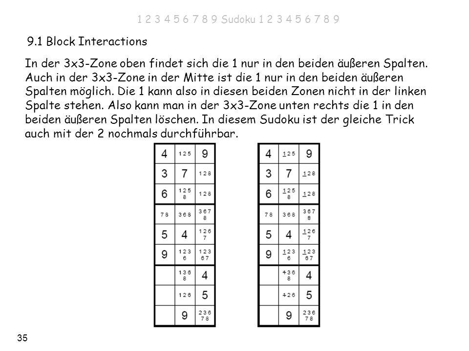 35 9.1 Block Interactions In der 3x3-Zone oben findet sich die 1 nur in den beiden äußeren Spalten. Auch in der 3x3-Zone in der Mitte ist die 1 nur in
