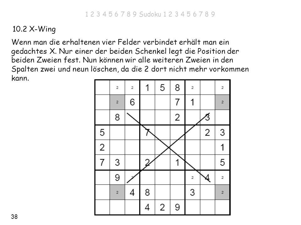 38 10.2 X-Wing Wenn man die erhaltenen vier Felder verbindet erhält man ein gedachtes X. Nur einer der beiden Schenkel legt die Position der beiden Zw