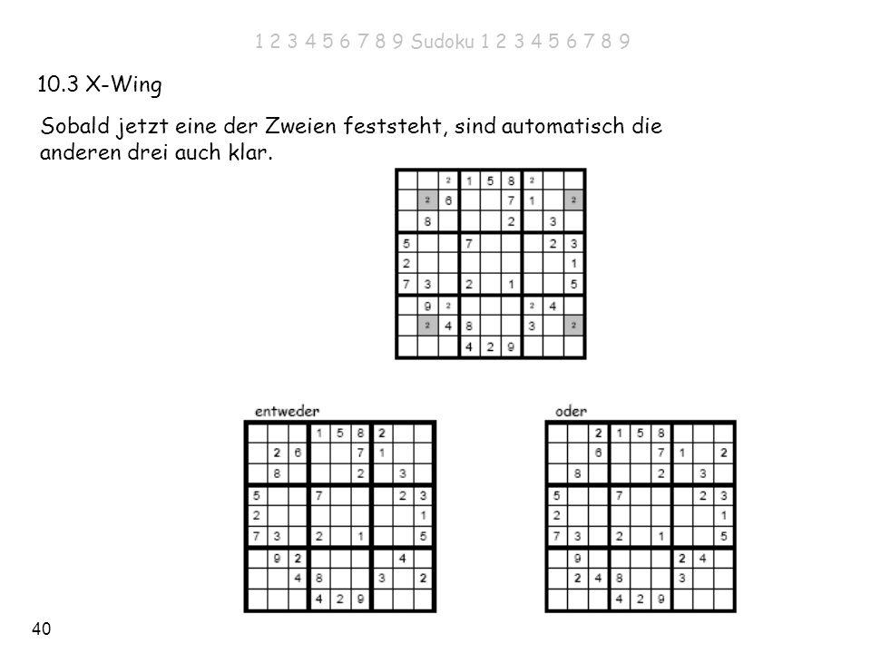 40 10.3 X-Wing Sobald jetzt eine der Zweien feststeht, sind automatisch die anderen drei auch klar. 1 2 3 4 5 6 7 8 9 Sudoku 1 2 3 4 5 6 7 8 9