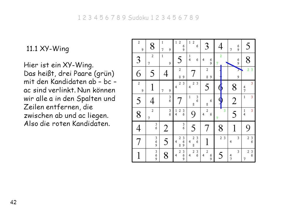 42 11.1 XY-Wing Hier ist ein XY-Wing. Das heißt, drei Paare (grün) mit den Kandidaten ab – bc – ac sind verlinkt. Nun können wir alle a in den Spalten