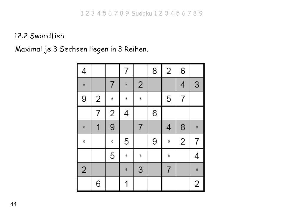 44 12.2 Swordfish Maximal je 3 Sechsen liegen in 3 Reihen. 1 2 3 4 5 6 7 8 9 Sudoku 1 2 3 4 5 6 7 8 9