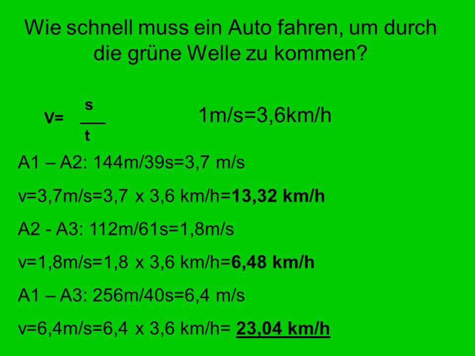 Wie schnell muss ein Auto fahren, um durch die grüne Welle zu kommen? s t V= A1 – A2: 144m/39s=3,7 m/s v=3,7m/s=3,7 x 3,6 km/h=13,32 km/h A2 - A3: 112