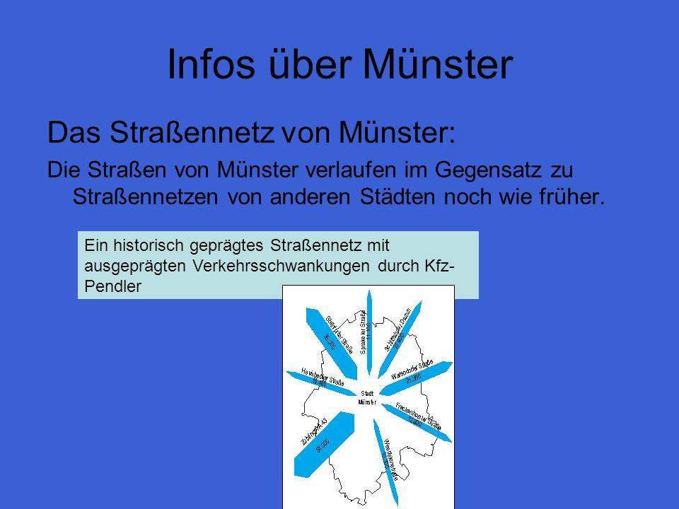 Infos über Münster Das Straßennetz von Münster: Die Straßen von Münster verlaufen im Gegensatz zu Straßennetzen von anderen Städten noch wie früher. E