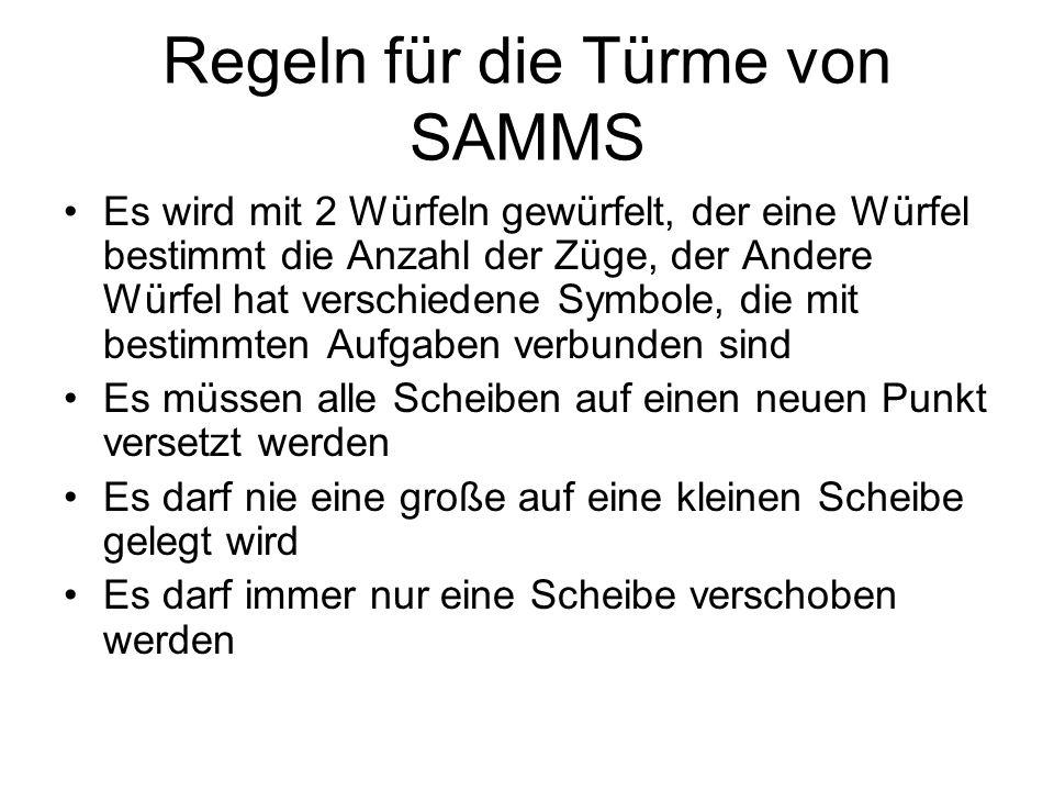 Regeln für die Türme von SAMMS Es wird mit 2 Würfeln gewürfelt, der eine Würfel bestimmt die Anzahl der Züge, der Andere Würfel hat verschiedene Symbo