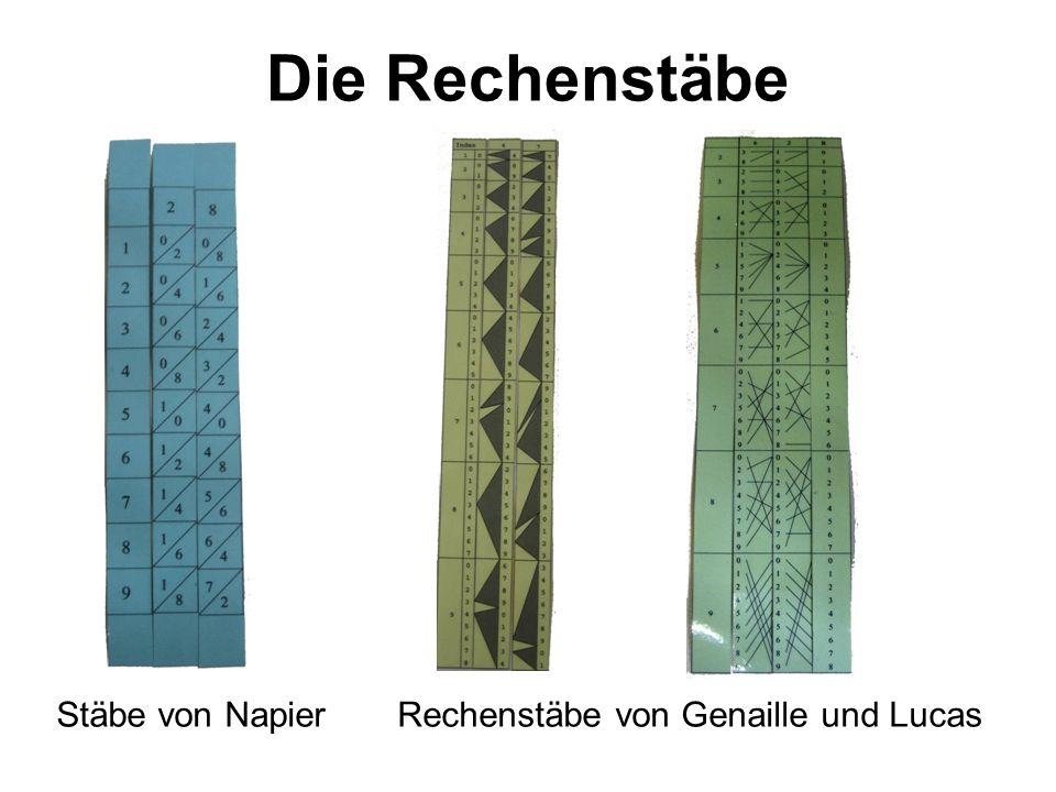 Die Rechenstäbe Stäbe von NapierRechenstäbe von Genaille und Lucas