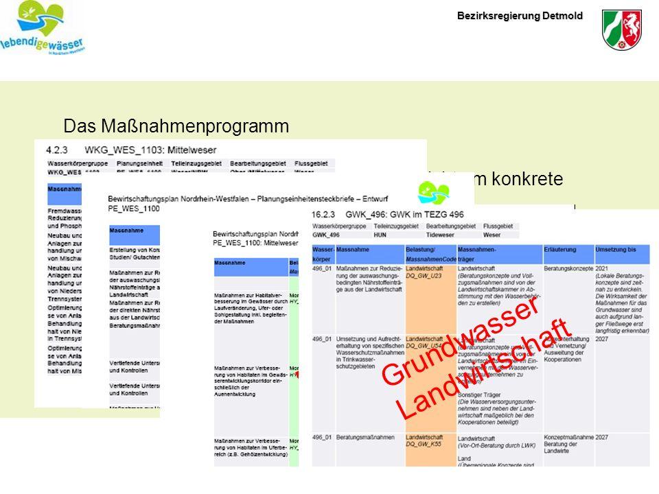 Bezirksregierung Detmold Das Maßnahmenprogramm Es handelt sich um ein Programm und nicht um konkrete Einzelmaßnahmen Der Entwurf des Maßnahmenprogramm