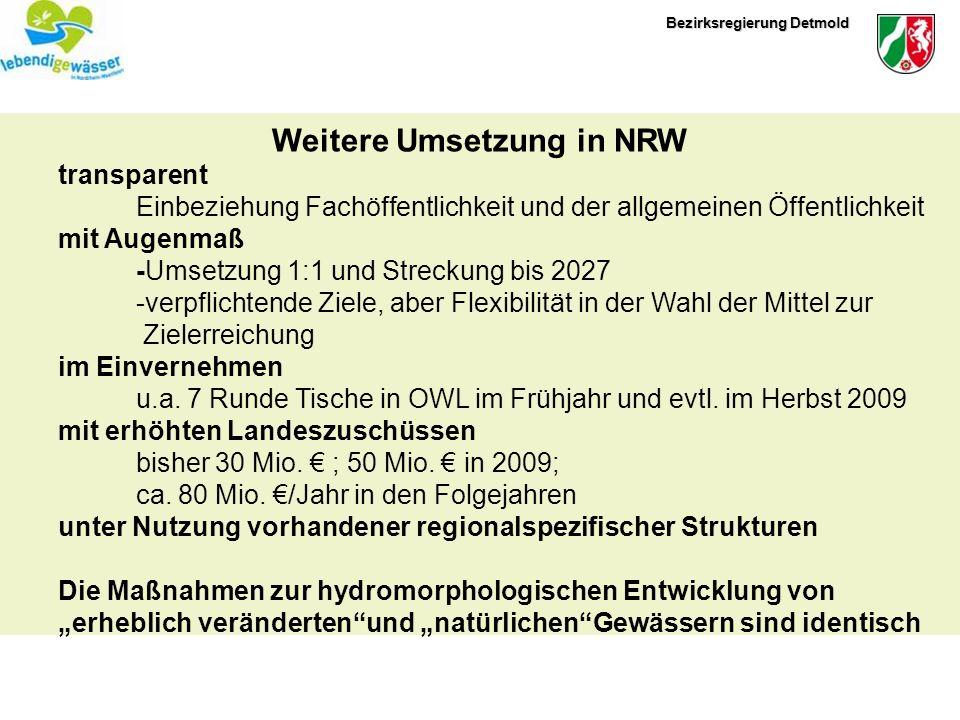 Bezirksregierung Detmold Weitere Umsetzung in NRW transparent Einbeziehung Fachöffentlichkeit und der allgemeinen Öffentlichkeit mit Augenmaß -Umsetzu