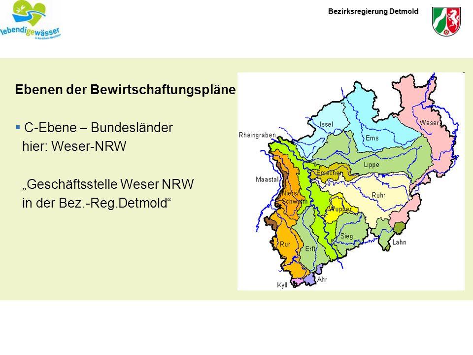 Bezirksregierung Detmold Ebenen der Bewirtschaftungspläne C-Ebene – Bundesländer hier: Weser-NRW Geschäftsstelle Weser NRW in der Bez.-Reg.Detmold