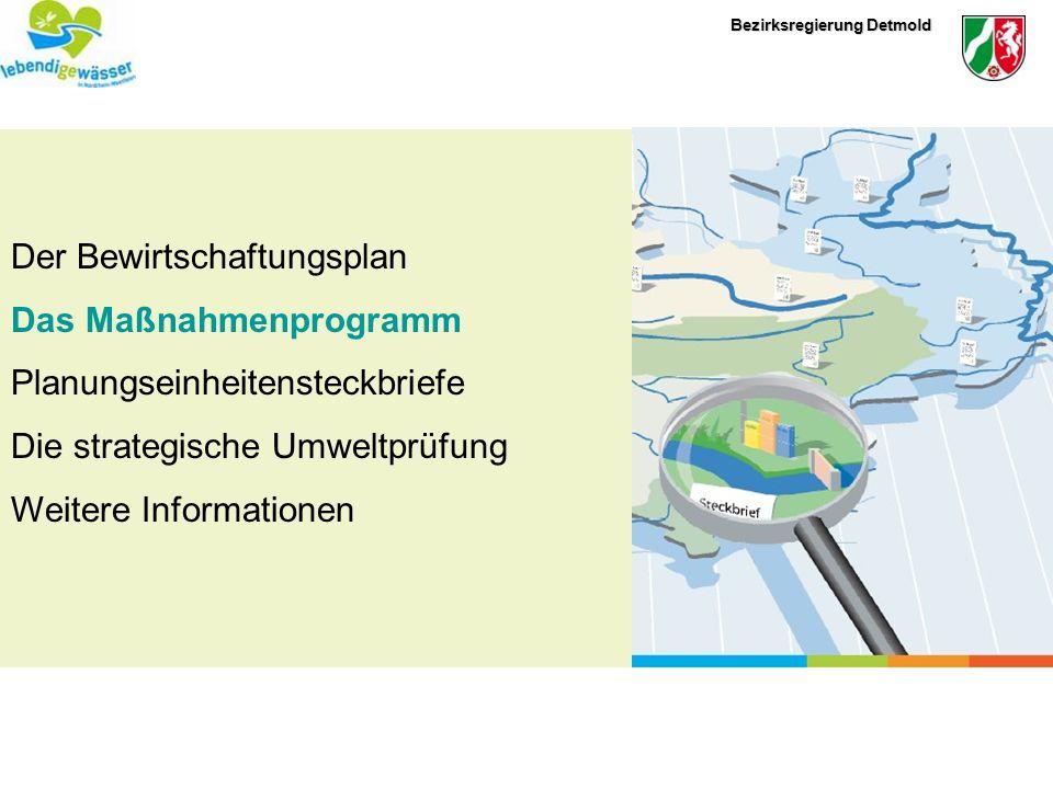 Bezirksregierung Detmold Offenlegung des Bewirtschaftungsplanes (Entwurf) vom 22.