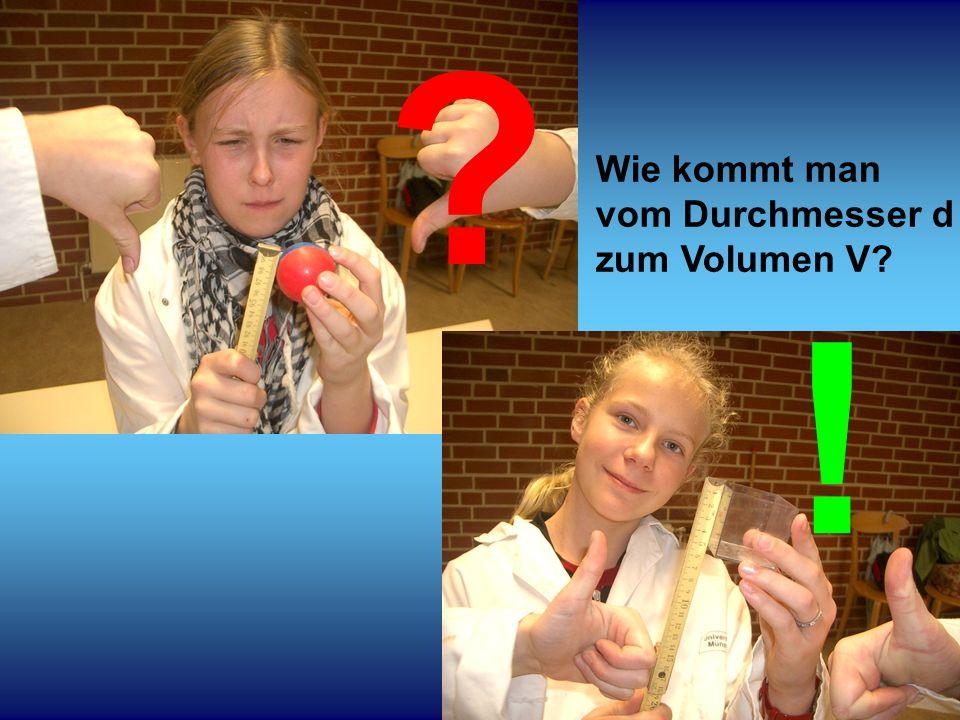 1212 Würfel: V = d³ Kugel:V = ??