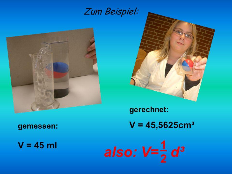 gerechnet: V = 45,5625cm³ Zum Beispiel: gemessen: V = 45 ml also: V= d³ 1212