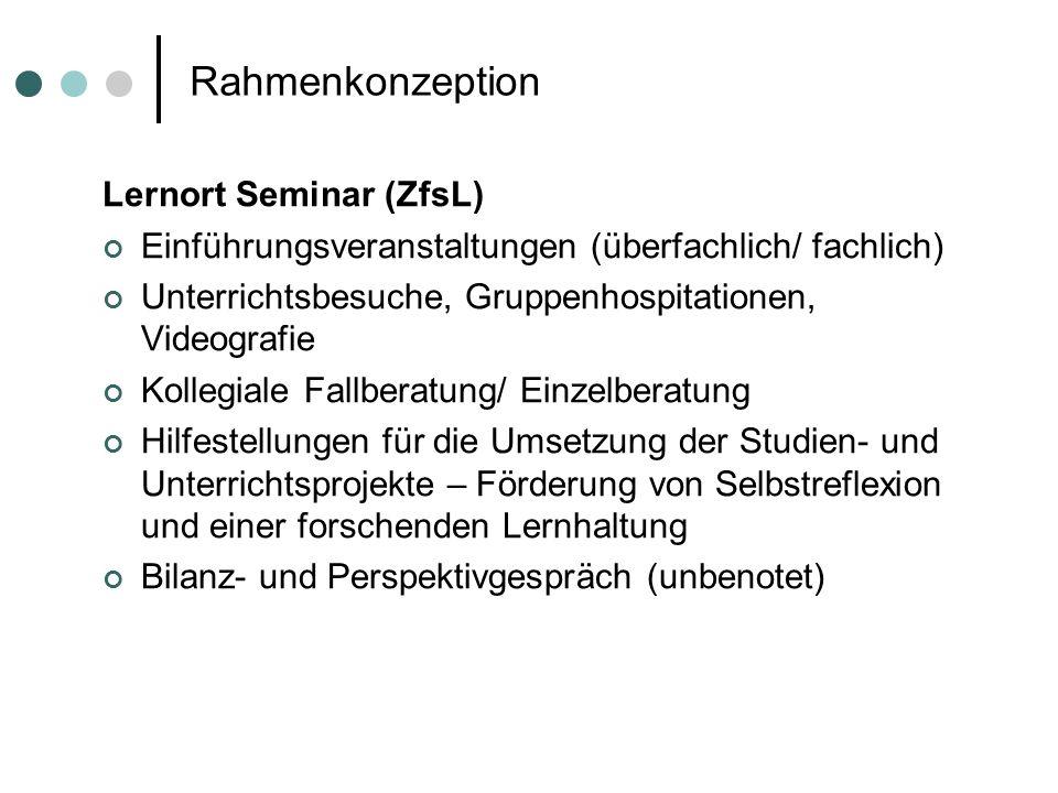 Rahmenkonzeption Lernort Seminar (ZfsL) Einführungsveranstaltungen (überfachlich/ fachlich) Unterrichtsbesuche, Gruppenhospitationen, Videografie Koll