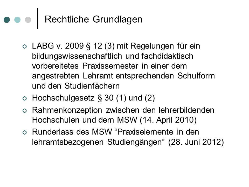 Rechtliche Grundlagen LABG v. 2009 § 12 (3) mit Regelungen für ein bildungswissenschaftlich und fachdidaktisch vorbereitetes Praxissemester in einer d