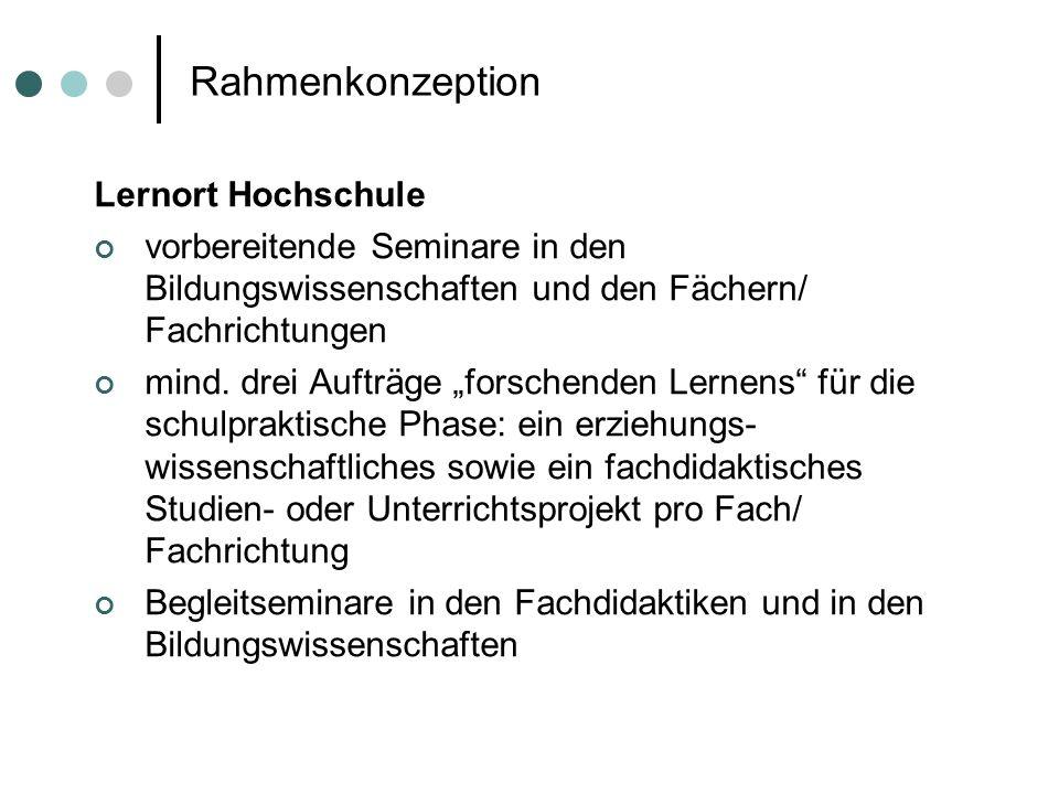 Rahmenkonzeption Lernort Hochschule vorbereitende Seminare in den Bildungswissenschaften und den Fächern/ Fachrichtungen mind. drei Aufträge forschend