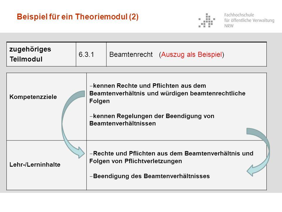 Beispiel für ein Theoriemodul (2) zugehöriges Teilmodul 6.3.1Beamtenrecht (Auszug als Beispiel) Kompetenzziele - kennen Rechte und Pflichten aus dem B