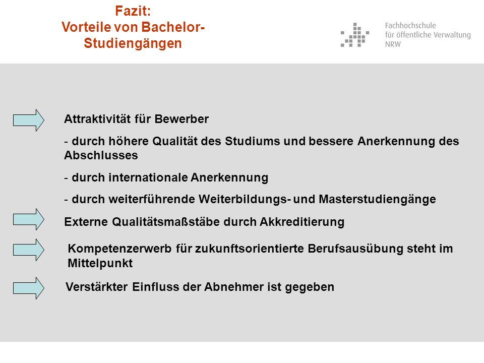 Fazit: Vorteile von Bachelor- Studiengängen Attraktivität für Bewerber - durch höhere Qualität des Studiums und bessere Anerkennung des Abschlusses -