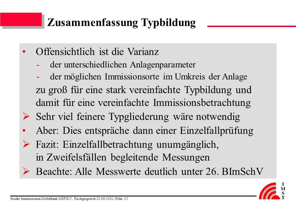 Studie Immissionen Mobilfunk MUNLV, Fachgespräch 20.09.2002, Folie 25 Zusammenfassung Typbildung Offensichtlich ist die Varianz -der unterschiedlichen