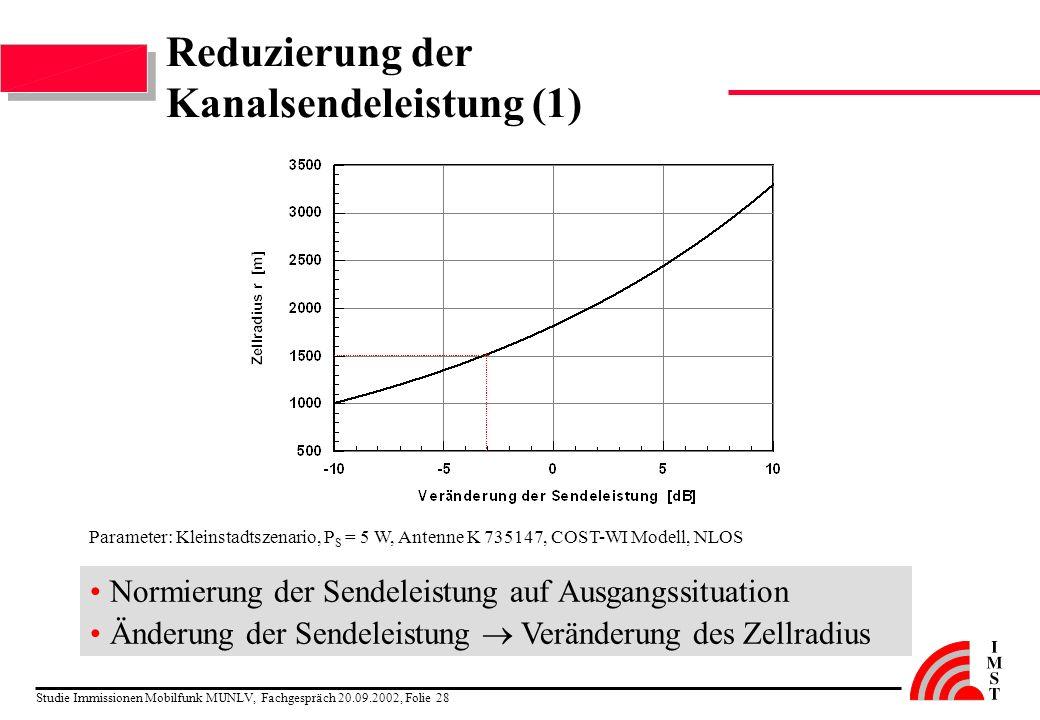 Studie Immissionen Mobilfunk MUNLV, Fachgespräch 20.09.2002, Folie 28 Reduzierung der Kanalsendeleistung (1) Normierung der Sendeleistung auf Ausgangs