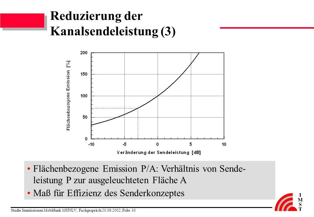 Studie Immissionen Mobilfunk MUNLV, Fachgespräch 20.09.2002, Folie 30 Reduzierung der Kanalsendeleistung (3) Flächenbezogene Emission P/A: Verhältnis
