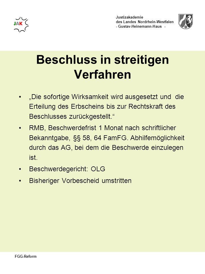 Justizakademie des Landes Nordrhein-Westfalen - Gustav-Heinemann-Haus - FGG-Reform Beschluss in streitigen Verfahren Die sofortige Wirksamkeit wird au