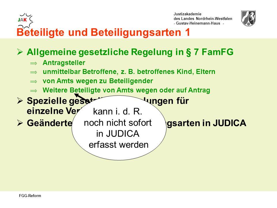 Justizakademie des Landes Nordrhein-Westfalen - Gustav-Heinemann-Haus - FGG-Reform Beteiligte und Beteiligungsarten 1 Allgemeine gesetzliche Regelung in § 7 FamFG Antragsteller unmittelbar Betroffene, z.