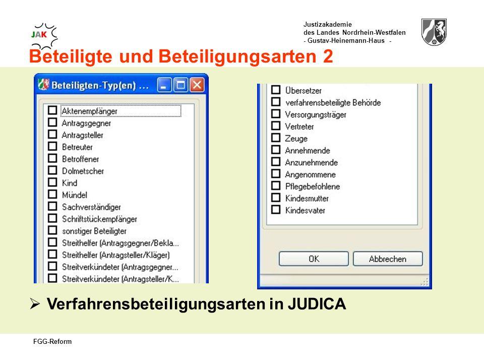 Justizakademie des Landes Nordrhein-Westfalen - Gustav-Heinemann-Haus - FGG-Reform Beteiligte und Beteiligungsarten 2 Verfahrensbeteiligungsarten in JUDICA