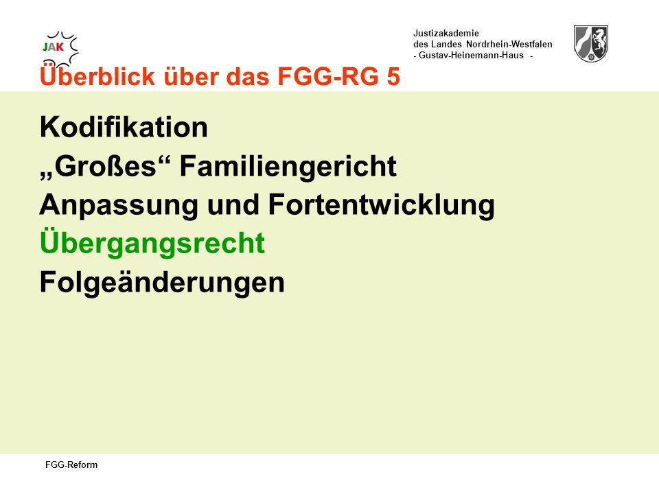 Justizakademie des Landes Nordrhein-Westfalen - Gustav-Heinemann-Haus - FGG-Reform Überblick über das FGG-RG 5 Kodifikation Großes Familiengericht Anpassung und Fortentwicklung Übergangsrecht Folgeänderungen
