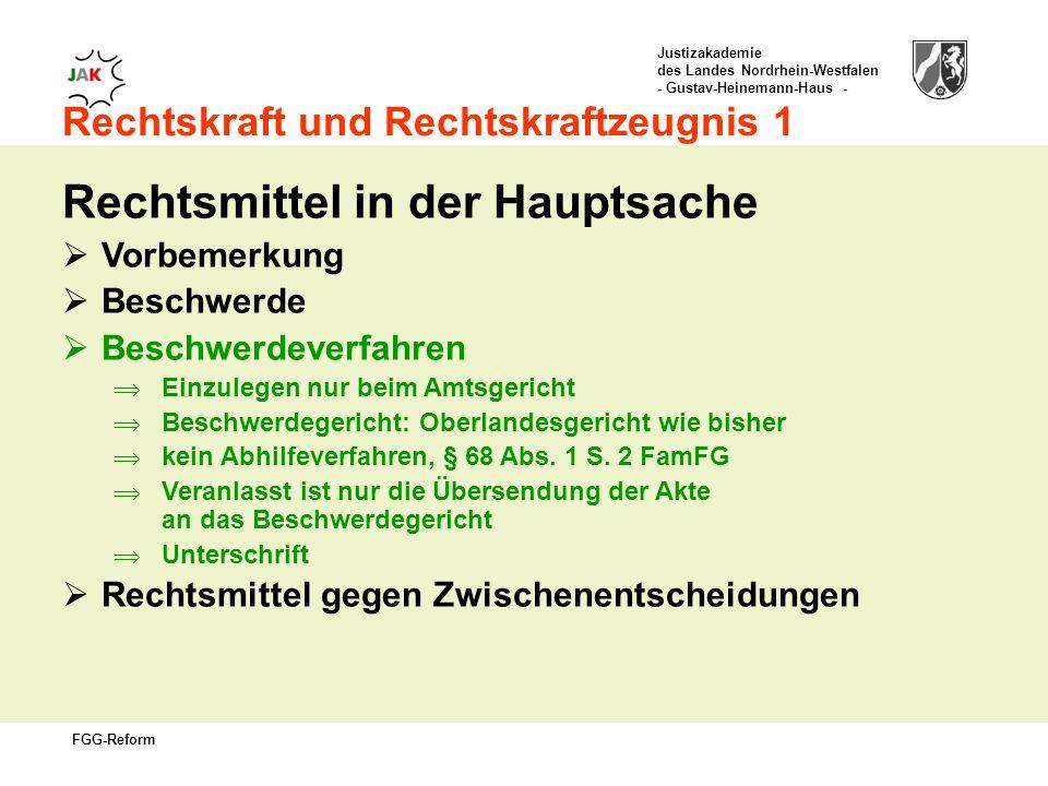 Justizakademie des Landes Nordrhein-Westfalen - Gustav-Heinemann-Haus - FGG-Reform Rechtskraft und Rechtskraftzeugnis 1 Rechtsmittel in der Hauptsache Vorbemerkung Beschwerde Beschwerdeverfahren Einzulegen nur beim Amtsgericht Beschwerdegericht: Oberlandesgericht wie bisher kein Abhilfeverfahren, § 68 Abs.