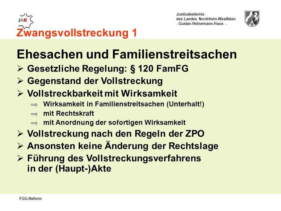 Justizakademie des Landes Nordrhein-Westfalen - Gustav-Heinemann-Haus - FGG-Reform Zwangsvollstreckung 1 Ehesachen und Familienstreitsachen Gesetzliche Regelung: § 120 FamFG Gegenstand der Vollstreckung Vollstreckbarkeit mit Wirksamkeit Wirksamkeit in Familienstreitsachen (Unterhalt!) mit Rechtskraft mit Anordnung der sofortigen Wirksamkeit Vollstreckung nach den Regeln der ZPO Ansonsten keine Änderung der Rechtslage Führung des Vollstreckungsverfahrens in der (Haupt-)Akte