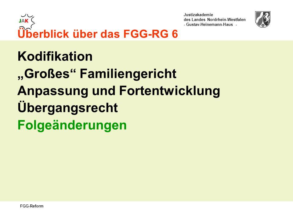 Justizakademie des Landes Nordrhein-Westfalen - Gustav-Heinemann-Haus - FGG-Reform Überblick über das FGG-RG 6 Kodifikation Großes Familiengericht Anpassung und Fortentwicklung Übergangsrecht Folgeänderungen