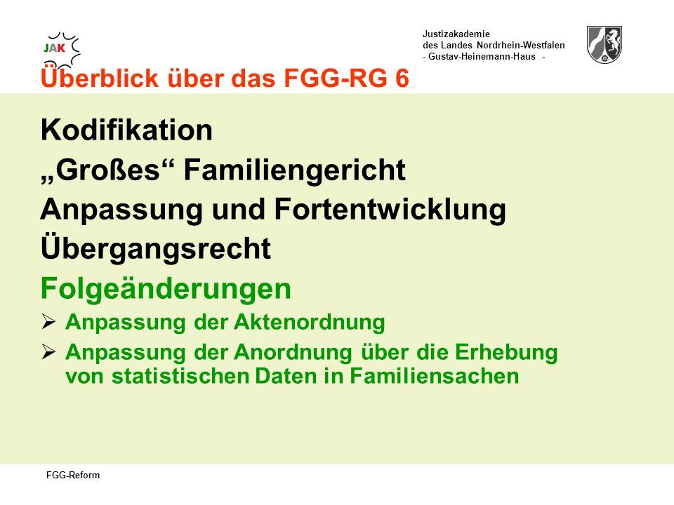 Justizakademie des Landes Nordrhein-Westfalen - Gustav-Heinemann-Haus - FGG-Reform Überblick über das FGG-RG 6 Kodifikation Großes Familiengericht Anpassung und Fortentwicklung Übergangsrecht Folgeänderungen Anpassung der Aktenordnung Anpassung der Anordnung über die Erhebung von statistischen Daten in Familiensachen