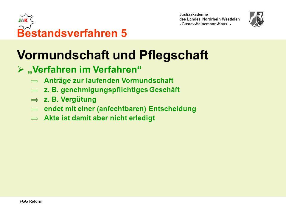 Justizakademie des Landes Nordrhein-Westfalen - Gustav-Heinemann-Haus - FGG-Reform Bestandsverfahren 5 Vormundschaft und Pflegschaft Verfahren im Verfahren Anträge zur laufenden Vormundschaft z.