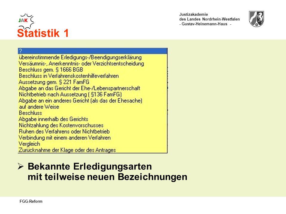 Justizakademie des Landes Nordrhein-Westfalen - Gustav-Heinemann-Haus - FGG-Reform Statistik 1 Bekannte Erledigungsarten mit teilweise neuen Bezeichnungen