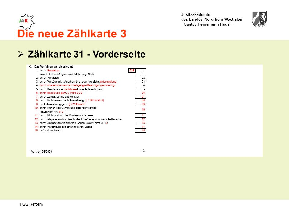 Justizakademie des Landes Nordrhein-Westfalen - Gustav-Heinemann-Haus - FGG-Reform Die neue Zählkarte 3 Zählkarte 31 - Vorderseite