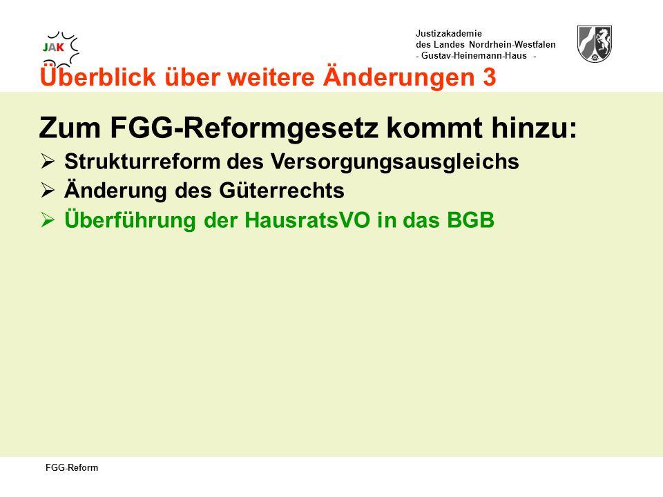 Justizakademie des Landes Nordrhein-Westfalen - Gustav-Heinemann-Haus - FGG-Reform Überblick über weitere Änderungen 3 Zum FGG-Reformgesetz kommt hinzu: Strukturreform des Versorgungsausgleichs Änderung des Güterrechts Überführung der HausratsVO in das BGB