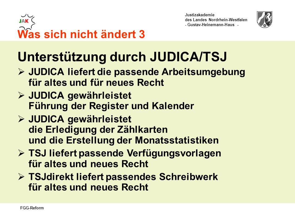Justizakademie des Landes Nordrhein-Westfalen - Gustav-Heinemann-Haus - FGG-Reform Was sich nicht ändert 3 Unterstützung durch JUDICA/TSJ JUDICA liefert die passende Arbeitsumgebung für altes und für neues Recht JUDICA gewährleistet Führung der Register und Kalender JUDICA gewährleistet die Erledigung der Zählkarten und die Erstellung der Monatsstatistiken TSJ liefert passende Verfügungsvorlagen für altes und neues Recht TSJdirekt liefert passendes Schreibwerk für altes und neues Recht