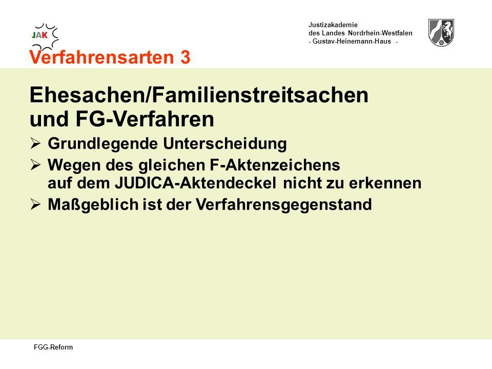 Justizakademie des Landes Nordrhein-Westfalen - Gustav-Heinemann-Haus - FGG-Reform Verfahrensarten 3 Ehesachen/Familienstreitsachen und FG-Verfahren Grundlegende Unterscheidung Wegen des gleichen F-Aktenzeichens auf dem JUDICA-Aktendeckel nicht zu erkennen Maßgeblich ist der Verfahrensgegenstand