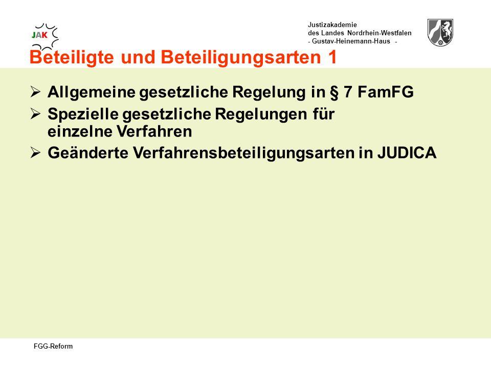 Justizakademie des Landes Nordrhein-Westfalen - Gustav-Heinemann-Haus - FGG-Reform Beteiligte und Beteiligungsarten 1 Allgemeine gesetzliche Regelung in § 7 FamFG Spezielle gesetzliche Regelungen für einzelne Verfahren Geänderte Verfahrensbeteiligungsarten in JUDICA