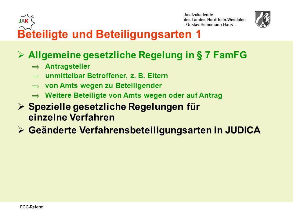 Justizakademie des Landes Nordrhein-Westfalen - Gustav-Heinemann-Haus - FGG-Reform Beteiligte und Beteiligungsarten 1 Allgemeine gesetzliche Regelung in § 7 FamFG Antragsteller unmittelbar Betroffener, z.