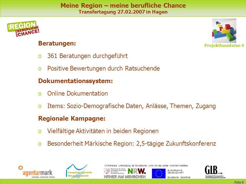 Meine Region – meine berufliche Chance Transfertagung 27.02.2007 in Hagen Mit finanzieller Unterstützung der Europäischen Union und des Landes Nordrhe